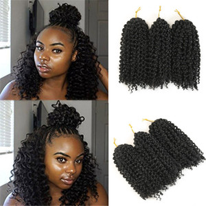 3pcs / pack Twist Kinky Crochet Tresses 8 pouces Curly Crochet Crochet cheveux Tresses Ombre cheveux Extensions de cheveux synthétiques
