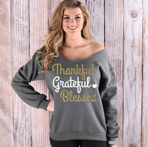 Thankful Brief Jacken Weihnachten Printed Hoodies Frauen beiläufige lose Mantel Langarm-Sweatshirt Mode Pullover Tops Blusas