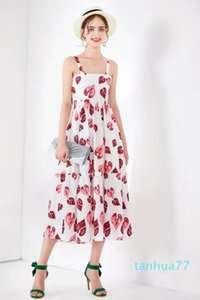 Fashion-Spring and summer 2020 show new Sicilian print suspender big swing long skirt sexy off shoulder holiday dress female