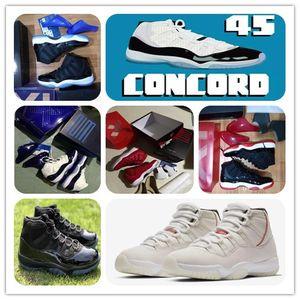11 concord 45 Platinum Mat Tampão e vestido de basquete sapatos 11 s Xi espaço jam criados Win como 96 82 Real fibra de carbono Sports Sneaker caixa original