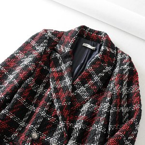 C2712-3244r WOMEN'S Dress New Products Plaid Double Breasted Suit Jacket