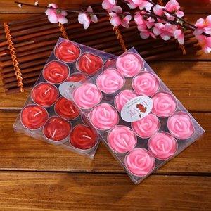 12PCS / set Aromaterapia piscando sem fumaça Dia dos Namorados Delicate encaixotado Rose Romantic Marriage Proposal Velas Decoração