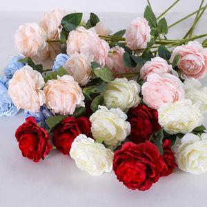 3 cabezas de flores de seda artificial flores de peonía sola rama con hojas de mesa de boda centros de mesa decoración del partido en casa LXL1232-L
