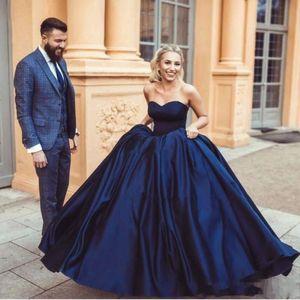 해군 파란색 볼 가운 Quinceanera Dresses 2019 현대 애인 민소매 아랍 공식적인 댄스 파티 복장 이브닝 가운 맞춤 제작 플러스 사이즈