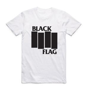 Homens da moda Imprimir Bandeira Negra T-shirt Com Manga Curta O-pescoço Banda de Verão Top Tee Casual Tshirt