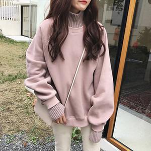 Plüsch dicke gefälschte zwei Pullover Frauen Frühling Herbst loser Frauen Pullover Rollkragen Langarm-gestrickten Pullover Pullover weiblich