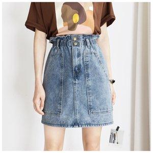 Neue Ankunfts-Sommer-Frauen-Denim-Röcke Designer Big-Taschen-Denim Röcke beiläufige Natural Color Mode A-Linie Röcke Damenmode
