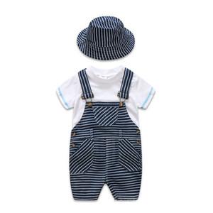 2019 Estate neonato appena nato vestiti infantili abiti bambini vestiti firmati 3 pezzi / set bianco T-shirt + pantaloni della bretella + cappello ragazzi set A2617