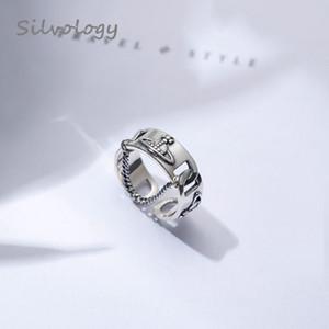 Silvology 925 chaîne en argent sterling Saturn anneaux d'argent vintage Weave texture anneaux Nouveau Ouvert pour Femmes 2019 Summer Bijoux Cadeau