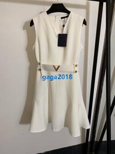 высокие конечные женщины девушки Трапеция жилет рубашки платье с поясом письмо лоскутное v-образным вырезом без рукавов-линии русалка юбка дизайн одежды класса люкс платья