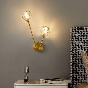 Nordic personality wall lamp creative bedroom bedside metal wall light minimalist brass 2 heads aisle corridor bracket light