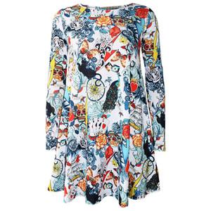 Fairy2019 Cadılar Bayramı Çapraz Avrupa Uzun Kollu İnsan İskeleti Başkanı Kabak Baskı Elbise
