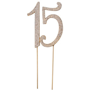 15 d'argento dorata torta decorativi Toppers Cupcake Topper del Strass per la decorazione di 15 anni Anniversary Party