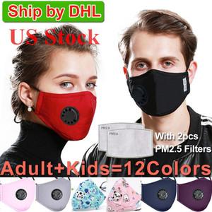ABD Stok! Yıkanabilir Yüz 2 Filtre Vana Koruyucu Pamuk Çocuk Çocuk Yüz Maskeleri Bezi Yıkanabilir Anti-Dust Yeniden kullanılabilir PM2.5 Maskeler Maske