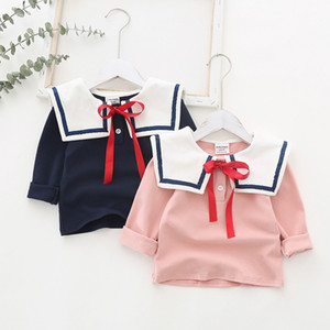 INS 여자 아이 옷 긴 봄이 간단한 스타일의 여자 TOP 100 % 목화 의류 가을 활 셔츠와 단색 큰 애완 동물 팬 칼라 슬리브