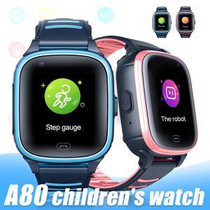 Reloj inteligente A80 4G para el bebé IP67 a prueba de agua para niños vídeo de alta definición llamada de voz de la cámara de fotos llamada WiFi GPS Rastreador de llamadas SOS SmartWatch con Box