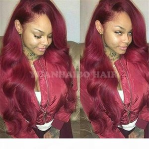 Celebrity Wig 99j virgin peruvian human hair body wave burgundy lace front wig can ponytail free shipping