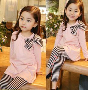 봄 베이비 걸즈 옷 걸스 레깅스 양복 세트 긴 소매 탑스 & 바지 어린이 의류 세트 2PC 세트