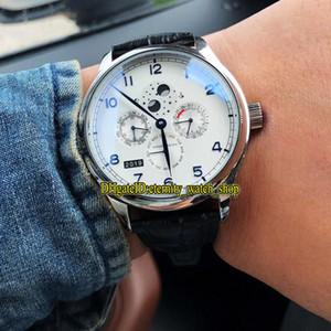 Haute Qualité Portugieser Perpétuel 503406 Réserve de marche automatique cadran blanc 503404 cas Mens Watch 316LSteel cuir Sport Montres