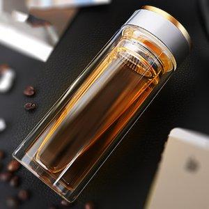 Abay portátil Garrafa Gabinete de parede dupla de chá de vidro com filtro de aço inoxidável Chá Garrafa de água Anti-Scalding Negócios Caneca CJ191225