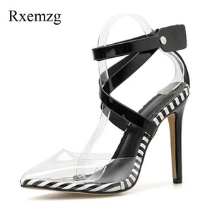 Rxemzg summer shoes woman high heel pumps with ankle strap pointed toe shoes PVC sandals fashion multicolor sandals women summer abc