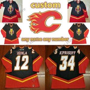 Calgary chamas vintage jerseys 12 iginla 34 kiprusoff personalizado qualquer número qualquer nome ccm autêntico hóquei jersey