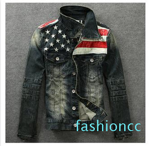 Man Denim Jackets Outerwear American Flag Male Do Old Blue Motorcycle Jeans Jacket Coat Man Fashion Slim Jeans Denim