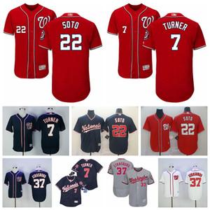 2018 Stil Beyzbol 7 Trea Turner Jersey 22 Juan Soto 37 Stephen Strasburg Bankası Kırmızı Beyaz Gri Lacivert Dikişli İndirim Ucuz Soğuk