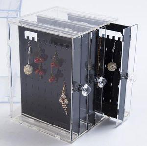 Joyería caja de plástico transparente caja pendiente del perno prisionero de recepción de plástico joyas pendiente de terminar la recepción de la caja del estante exhibición de la joyería