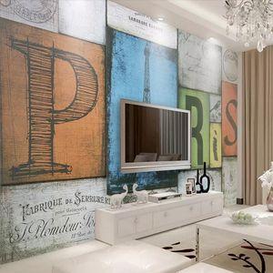 3D retro brick wall large murals Personality stereo English alphabet wallpaper World map living room background wallpaper arkadi