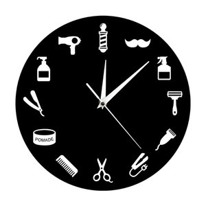 Hairstylist Business Wall Sign Barber Tools Designed Wall Clock Salon Artist Home Decor Barber Shop Pole Beauty Salon Clock