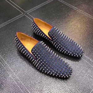 Италия обувь ручной работы Красное дно оксфорды мужская бизнес плоские мокасины обувь роллер шипами плоские Обнаженные черная замша с шипами