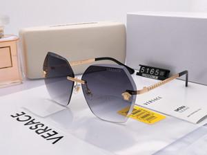 Tasarımcı güneş gözlüğü moda marka erkek ve kadın güneş gözlüğü moda çerçevesiz kalınlaşmış lensler yüksek kalite 5165 tam set ambalaj