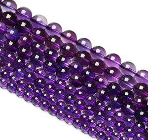 """95 unids / strand 4 mm piedras preciosas de amatista rusas redondas de cristal suelta perlas de joyería apta DIY collares o pulseras 15 """""""