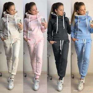 Spor Takım Elbise Polar Hoodies Pantolon 2 adet Giyim Setleri Slim Fit Casual Giyim Kadın Kış Sonbahar