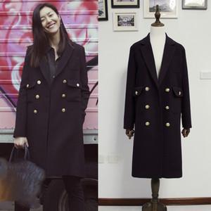 UK New Fahion 2018 Outono / Winte Mulheres Abotoamento forro acolchoado de lã espessa camada Aqueça Sobretudo casaco feminino Marca