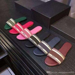 luxury Designer Leather Blue red stripes Sandals Denim Ladies Summer Flat Slipper outdoor beach woman Flip Flops Rainbow letters slippers