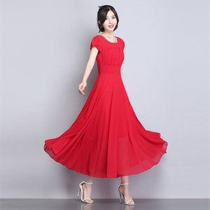 Red Chiffon Beach Dresses for Wedding Party 2020 Midi Bridesmaid Dress with Short Sleeves Summer O Neck Women Dresses