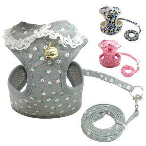 Doux Mesh Pet Puppy Dog Cat harnais Set Leash avec Bell Cute Lace Pet Gilet pour les petits chiens moyens Chihuahua Yorkie Teddy S M L XL