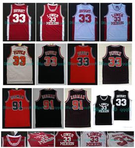 NCAA Lower Merion 33 Bryant Jersey Scottie Pippen 33 Dennis Rodman 91 Instituto de Bachillerato Jersey Rojo Blanco Negro 100% cosido Baloncesto