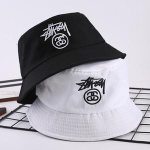 sombrero bordados de lujo para hombre negro de cubo Pescador tapas de diseño de marca sombreros plegable polo Pesca Playa parasol del jugador de bolos para mujer del snapback