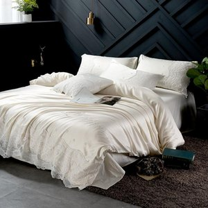 Washed Silk Pure Colour Pillowcases Queen King Set Glitter Stone Duvet cover set Bed Lace Bedding Sheet