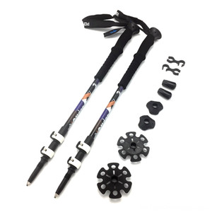 2pcs lot and Camping & Hiking Trekking Pole Nordic Aluminum Alloy Walking Poles Telescopic Alpenstock Hiking Cane Camping