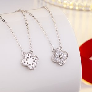 Four-leaf clover diamond necklace s925 sterling silver jewelry diamond pendant choker necklace female