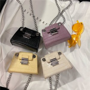 Mini Chains Crocodile Print Crossbody Bag Women Stone Pattern Purses Handbags Designer Female Small Lock Shoulder Messenger Bags