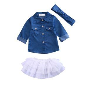 2017 Kleinkind-Kind-Baby-Denim-langärmlige Baumwollshirt-Shirt-Tutu Rock-Kleid 3pcs Outfits Set