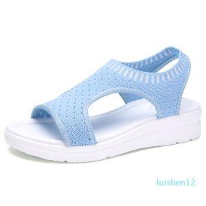 Hot Sale-Sommer-Frauen-Sandelholz-Plus-Größe 35-45 Keil Breathableemale Peep Toe Damen Feste Slip-on Bequeme Schuhe Damen l12