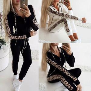 Женская костюмы из двух частей Комплекты Тонкий Leopard вскользь с капюшоном Топы и тощие брюки Set Женский Sweatsuit Печатные 2 шт Tracksuit