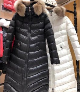 Hot 2020 Winter Down Coat Sashes Jacket for Women Long Raccoon Fur Slim Fashion Hooded Clothes Brand Warm Outwear Parkas Colors Sale