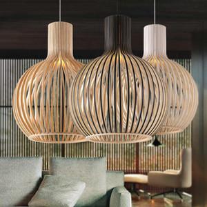 Simples Madeira Birdcage E27 lâmpada Pingente luz Norbic Home Deco Bamboo lâmpada Pingente de madeira moderno para estar / jantar / Quarto